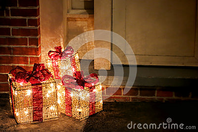 Lighted Decorated Christmas Gifts Boxes at Doorway