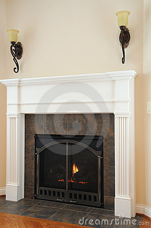 Lighted Gas Fireplace