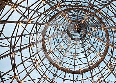 Lighted Glass Truss Ceiling