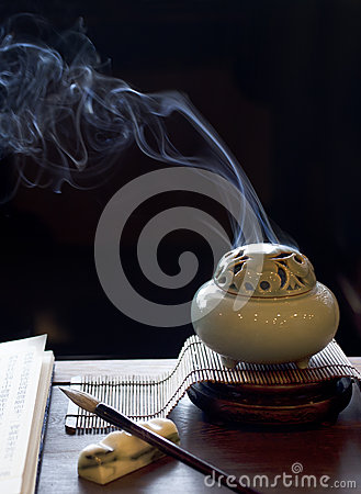 Lighted incense burner is placed on the table