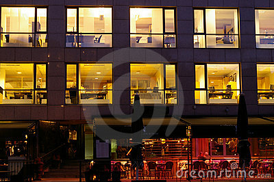 Lighted offices in Aker Brygge