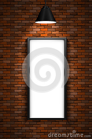 Free Lighted Picture Frame On A Red Brick Wall Royalty Free Stock Photography - 51976367