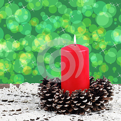 Lighted red candle