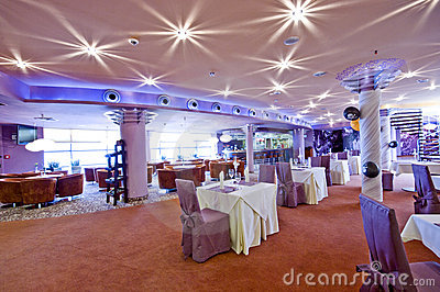 Lighted restaurant interior