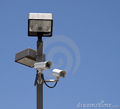 Free Lighted Surveillance Cameras On Pole Royalty Free Stock Photo - 10342785