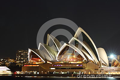 Pulsating Sydney Opera House at night Editorial Stock Photo