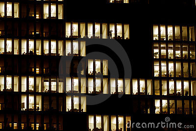 Lighted windows of an office building
