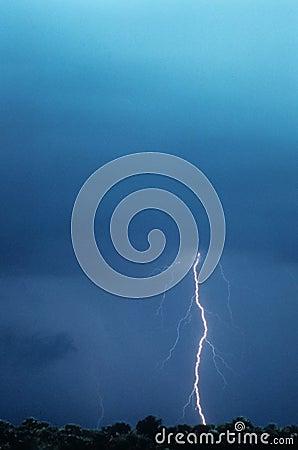 Lightening Bolt Striking The Ground