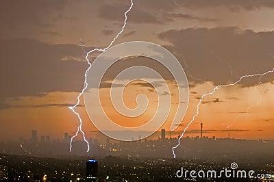 Lightening bolts in city