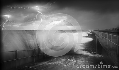 Lightening storm ocean stress