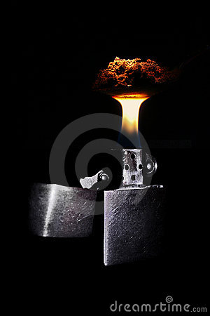 Free Lighter Burning Spoon With Coffee Stock Photo - 1995190