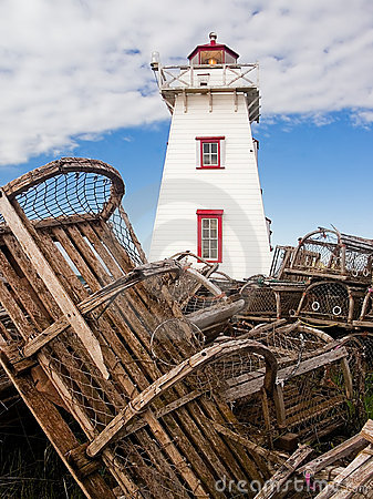 Free Lighthouse And Lobster Traps, PEI, Canada Royalty Free Stock Photo - 10737845