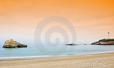 Lighthouse and beach in biarritz