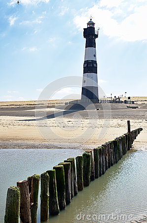 Lighthouse on a beach in Holland