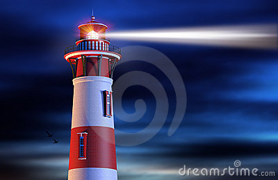 Lighthouse Beam at Night