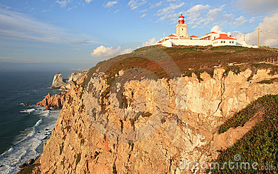Lighthouse of Cabo da Roca on the rocks, Portugal