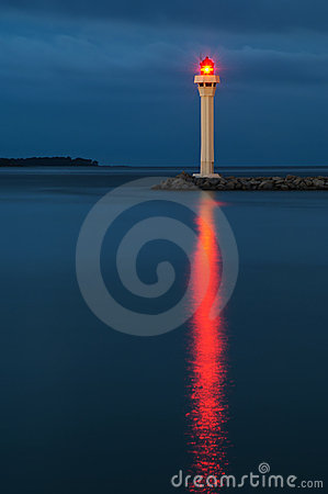 Lighthouse in Cannes at night
