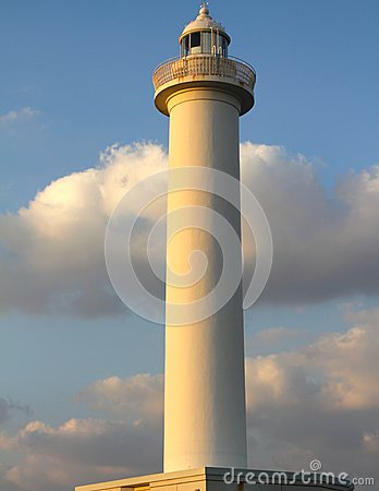Free Lighthouse Cape Zampa, Yomitan Village, Okinawa Japan At Sunset Stock Image - 44863501