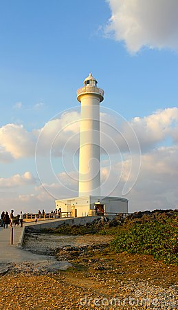Free Lighthouse Cape Zampa, Yomitan Village, Okinawa Japan At Sunset Stock Images - 44863504