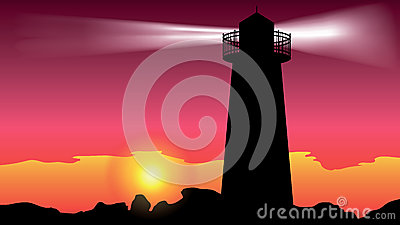 Lighthouse on the coast - vector