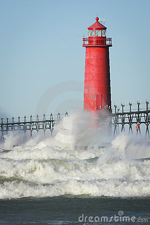 Lighthouse Crashing Waves