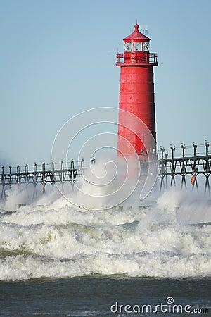 Free Lighthouse Crashing Waves Stock Image - 16915741