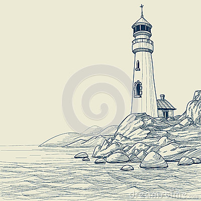 Free Lighthouse Drawing Royalty Free Stock Photos - 25696208