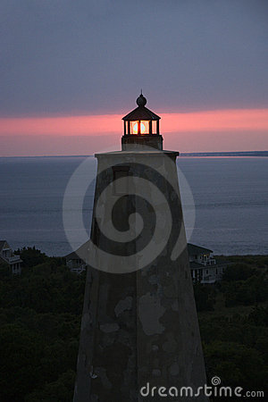 Lighthouse at dusk.