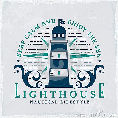 Free Lighthouse Emblem. Vector Nautical Banner With Grunge Background. Royalty Free Stock Photos - 119480798