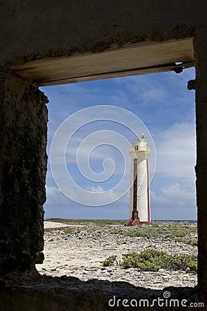 Lighthouse framed in doorway