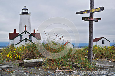 Lighthouse with fun signs Serenity and Reality