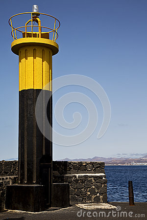 Lighthouse and h   arrecife teguise lanzarote spain