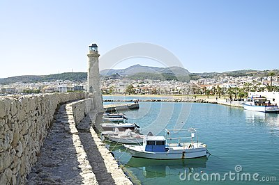 Lighthouse in the harbor of Rethymno Editorial Stock Image