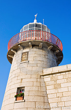 Lighthouse at Howth harbor in Ireland
