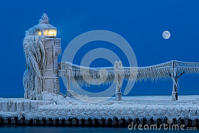 Lighthouse Ice Sculpture At Night Royalty Free Stock Image - Image: 29110906
