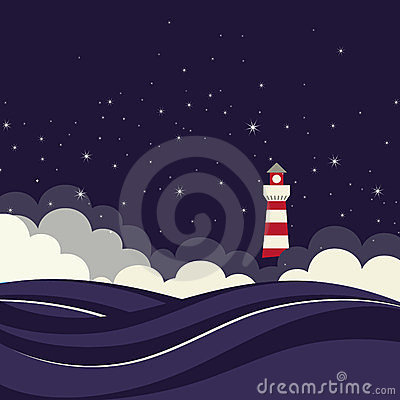 Free Lighthouse In Night Sea. Stock Photo - 24061770