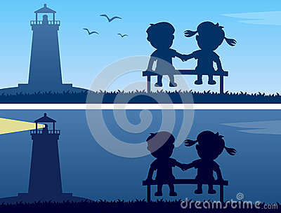 Lighthouse and Kids Silhouettes