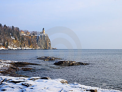 Lighthouse on Lake Superior in winter