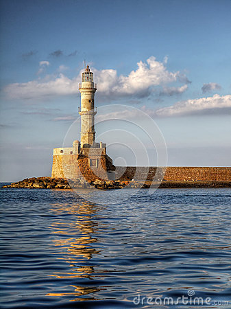 Free Lighthouse Landmark  Harbour Hania Crete Greece Stock Photos - 42798303