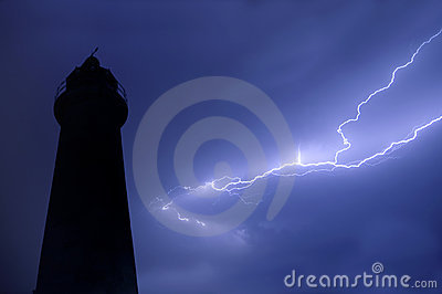 Lighthouse with lightening