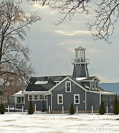 Lighthouse-like building in winter