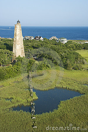 Lighthouse in marsh.
