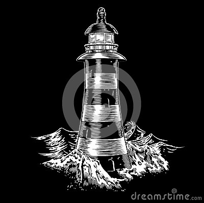 Lighthouse at night with rough sea