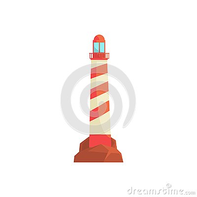 Free Lighthouse, Ocean Beacon, Searchlight Tower For Maritime Navigation Guidance Vector Illustration Royalty Free Stock Photo - 100645045