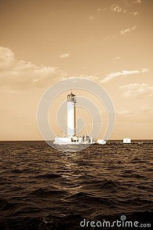 Lighthouse in Odessa Ukraine, photo in vintage sty