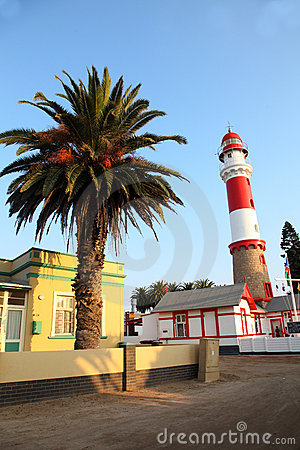 Lighthouse and Palm, Swakopmund, Namibia