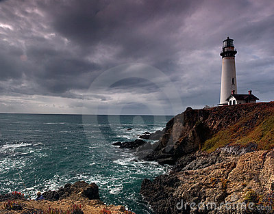 Lighthouse panorama on a cliff and ocean
