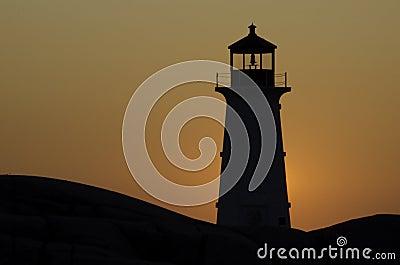 Lighthouse at Peggy s Cove, Nova Scotia at sunset