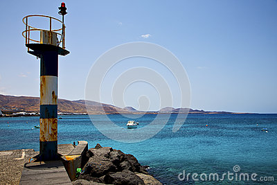 Lighthouse and pier  arrecife teguise lanzarote spain