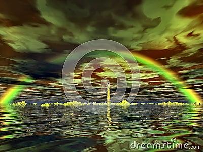 Lighthouse and rainbow
